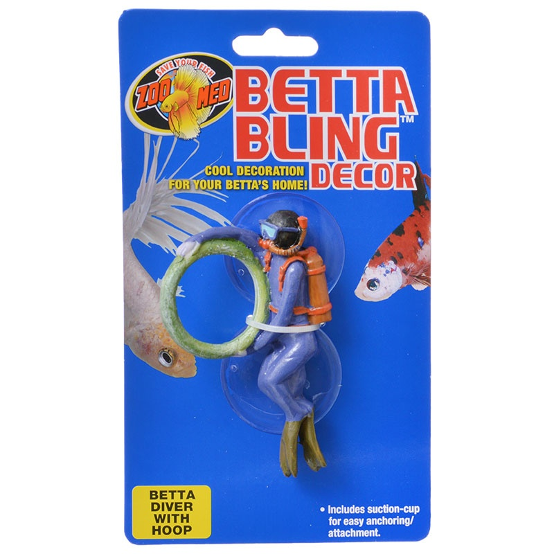 Zoo med betta bling decor diver with hoop your loved for Toys for betta fish